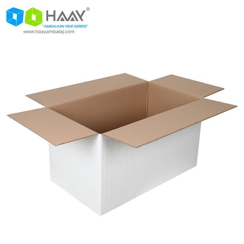 70x40x40 cm Beyaz Çift Oluklu A-Box Koli