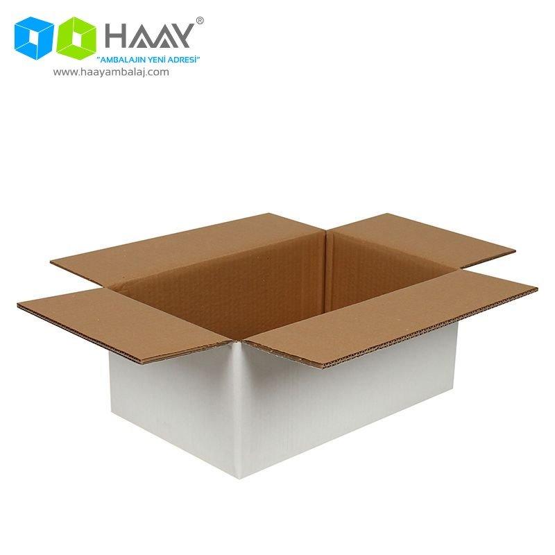 35x22x15 cm Beyaz Çift Oluklu A-Box Koli