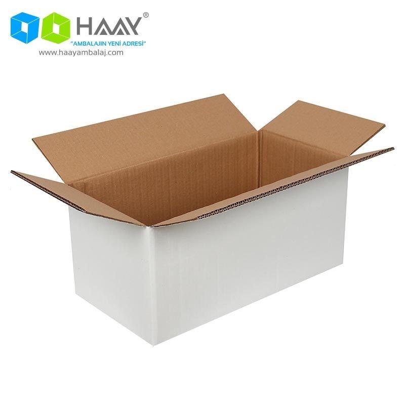 41x21x19 cm Beyaz Çift Oluklu A-Box Koli - 476