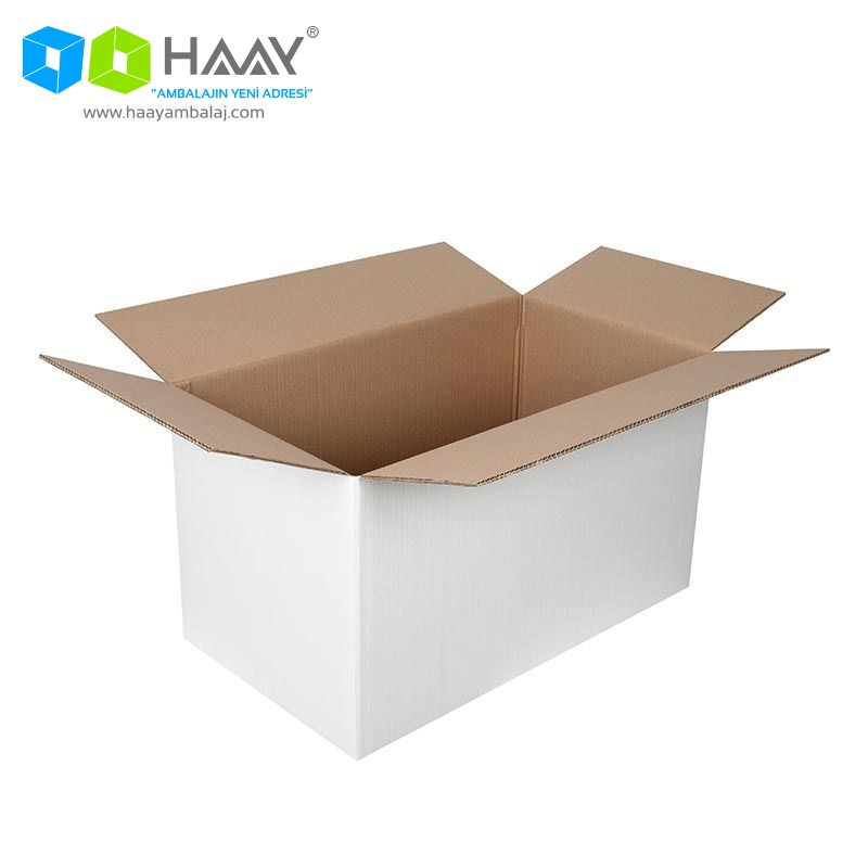 70x40x40 cm Beyaz Çift Oluklu A-Box Koli - 462