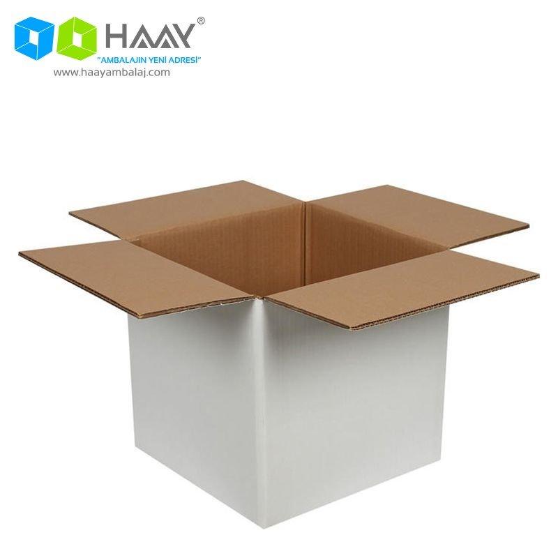 30x30x30 cm Beyaz Çift Oluklu A-Box Koli