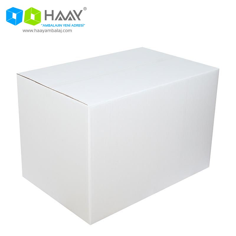 90x60x60 cm Beyaz Çift Oluklu A-Box Koli - 461