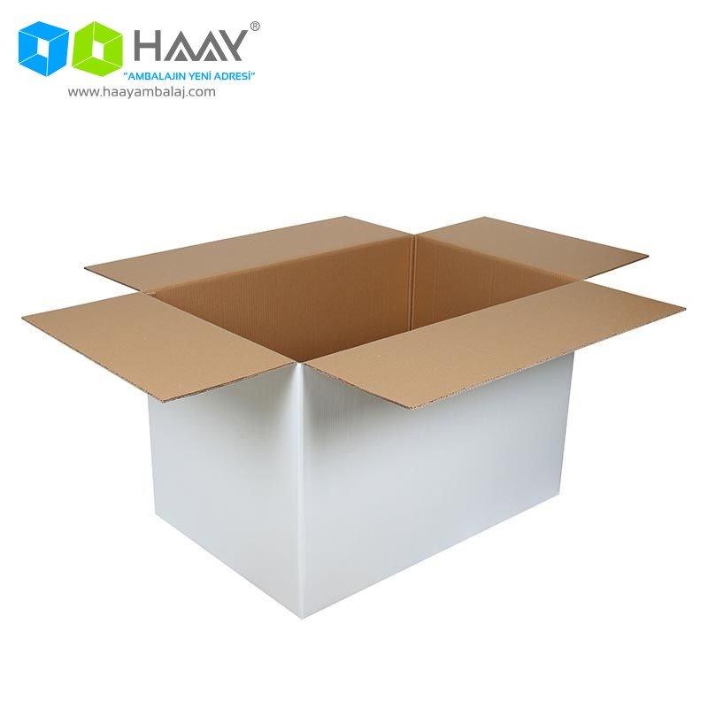 90x60x60 cm Beyaz Çift Oluklu A-Box Koli