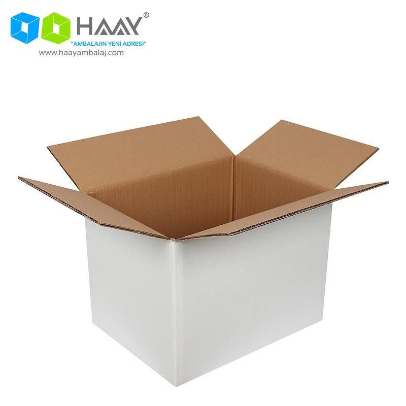 40x30x30 cm Beyaz Çift Oluklu A-Box Koli - 478