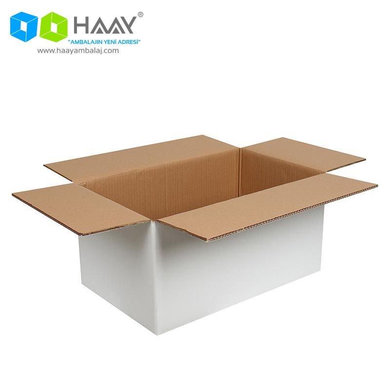 50x30x25 cm Beyaz Çift Oluklu A-Box Koli