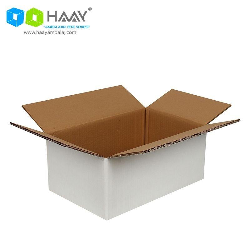 35x22x15 cm Beyaz Çift Oluklu A-Box Koli - 446