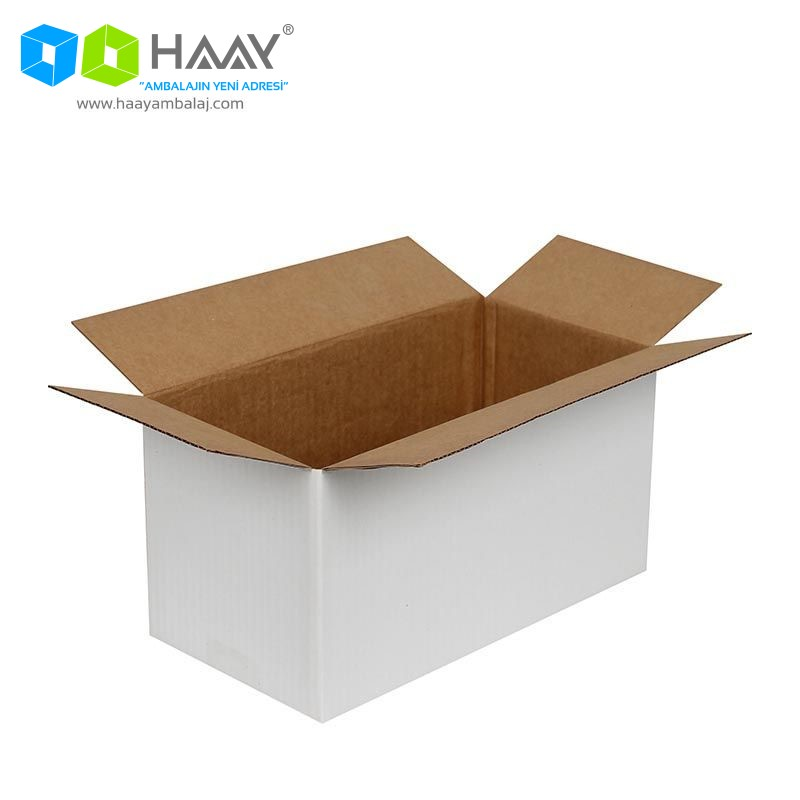 29x15x15 cm Tek Oluklu Beyaz A-Box Koli