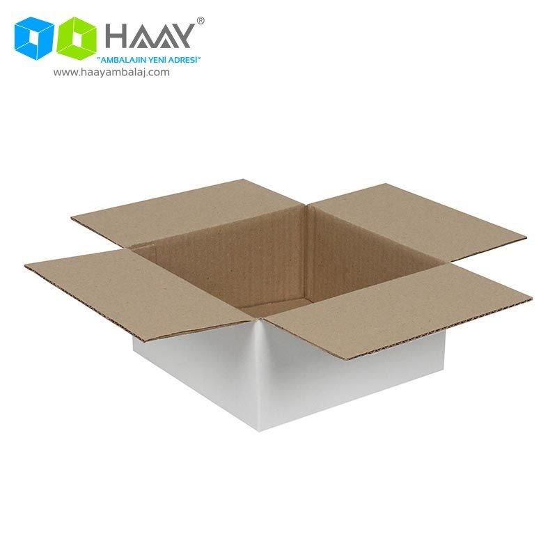 20x20x10 cm Tek Oluklu Beyaz A-Box Koli