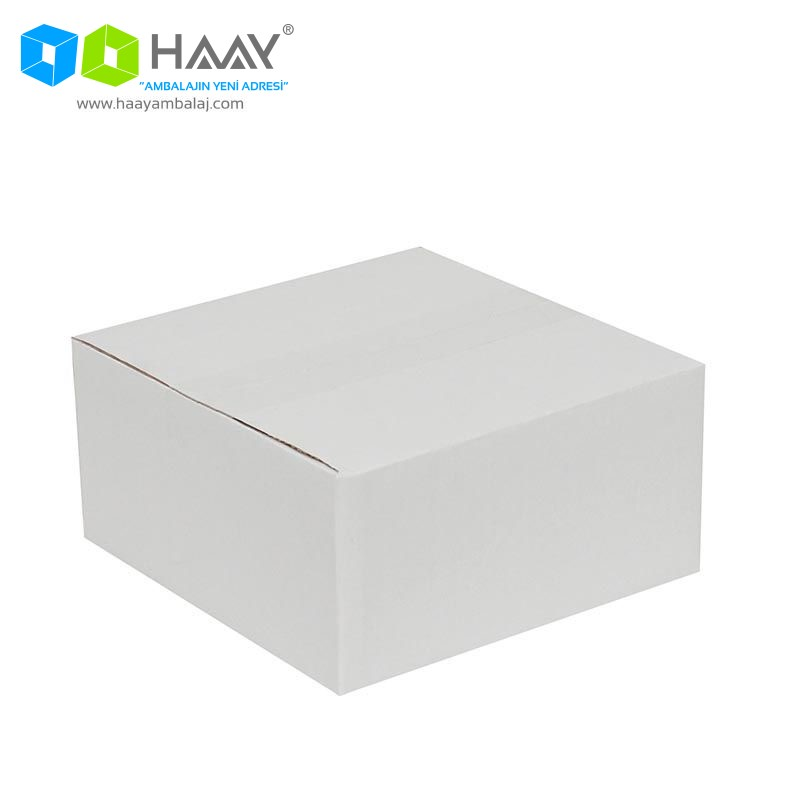 20x20x10 cm Tek Oluklu Beyaz A-Box Koli - 491