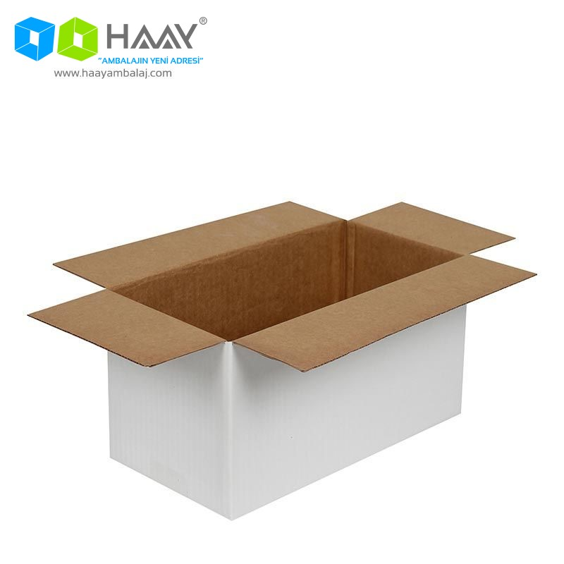 29x15x15 cm Tek Oluklu Beyaz A-Box Koli - 486