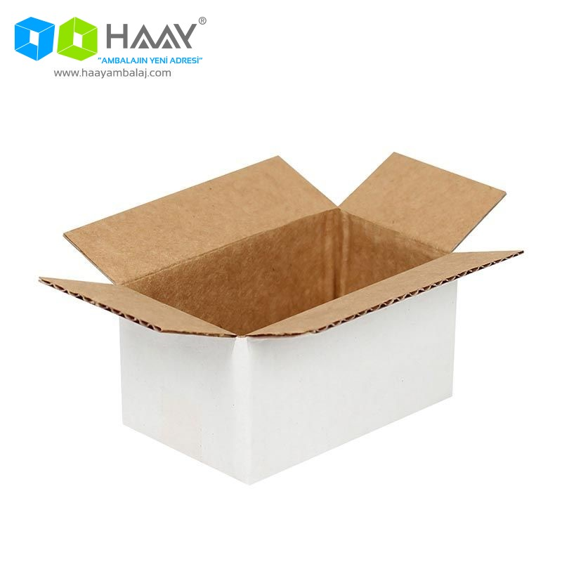 6,5x3,5x3 cm Tek Oluklu Beyaz A-Box Koli - 484
