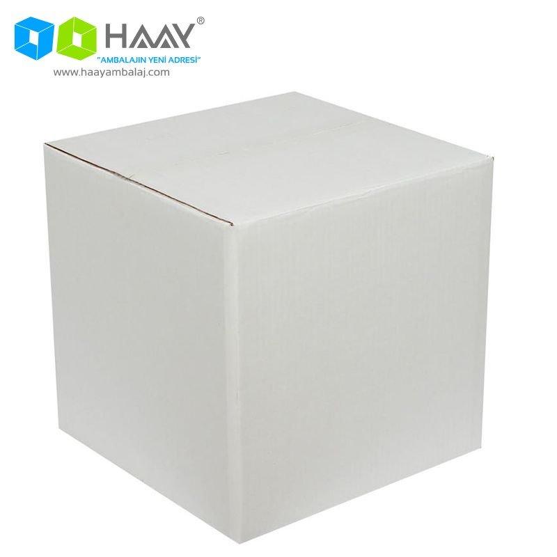 40x40x40 cm Çift Oluklu Beyaz A-Box Koli - 536