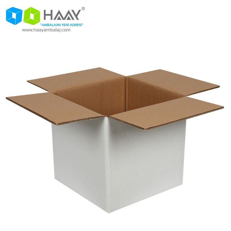 40x40x40 cm Çift Oluklu Beyaz A-Box Koli