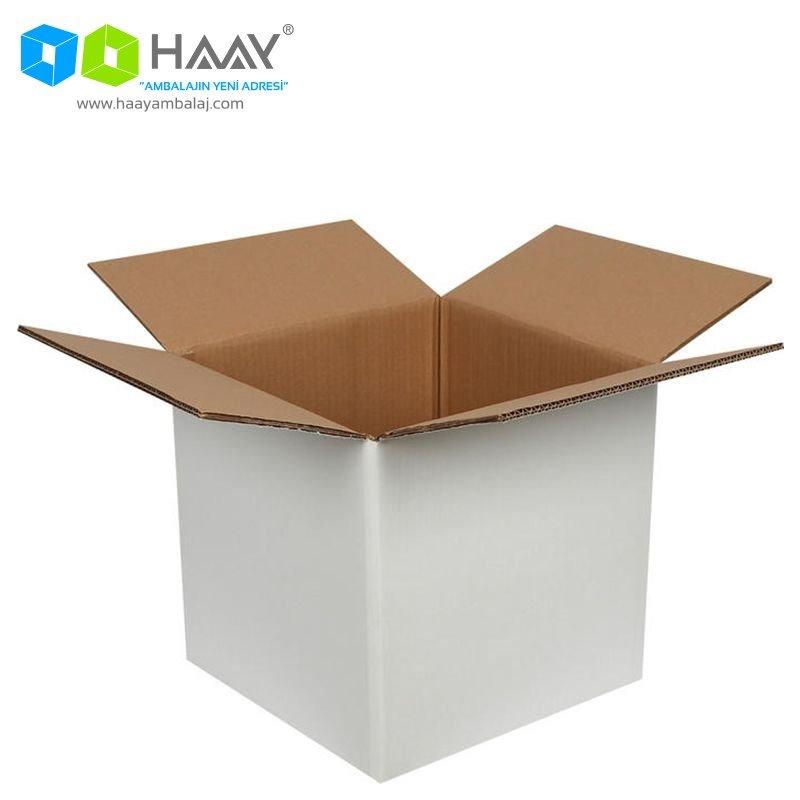 40x40x40 cm Çift Oluklu Beyaz A-Box Koli - 535