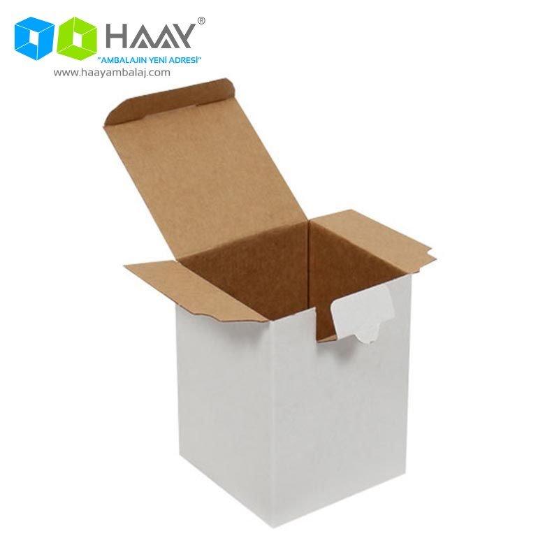 12x12x16 cm Dikey Kapaklı Beyaz Kutu