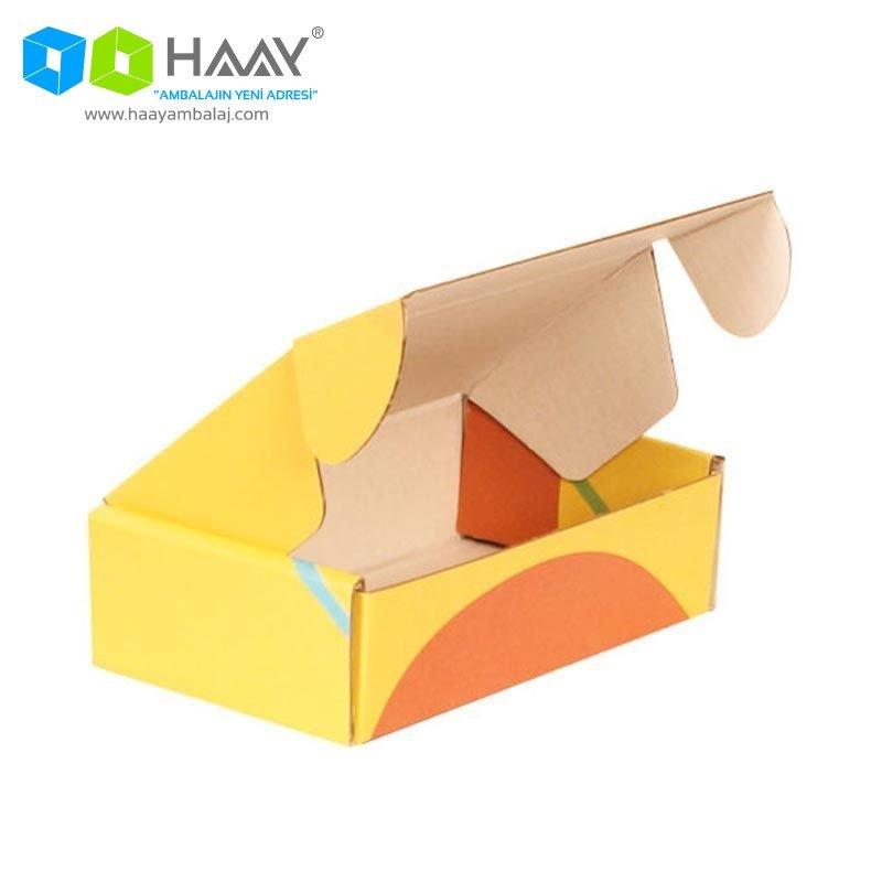 14x8x4 cm Renkli Sarı Şekilli Kutu