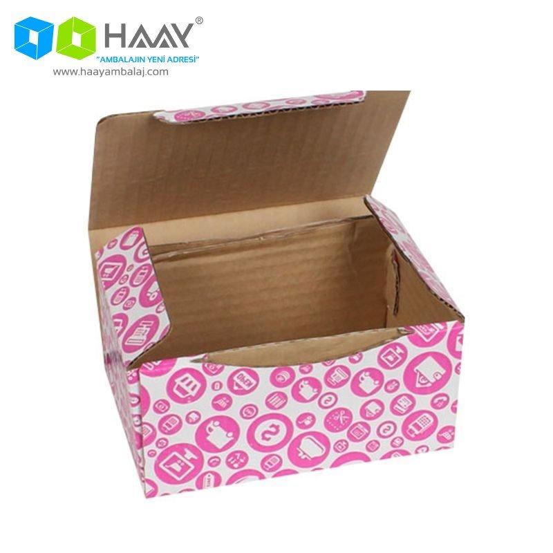 15,5x11x7,5 cm Alışveriş Temalı Pembe Kutu