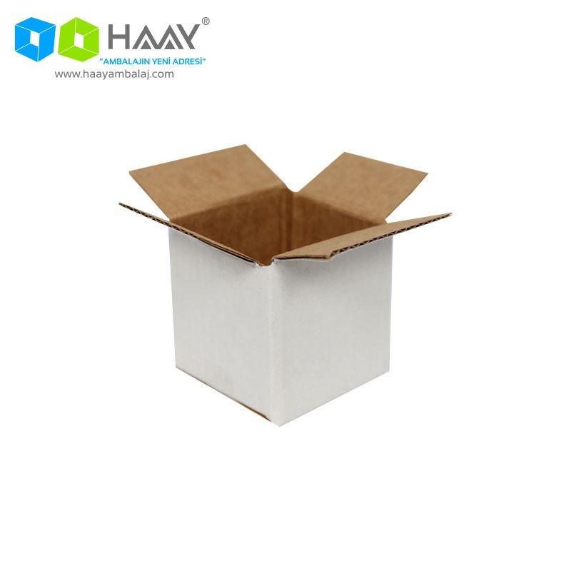 5x5x5 cm Tek Oluklu Beyaz A-Box Koli