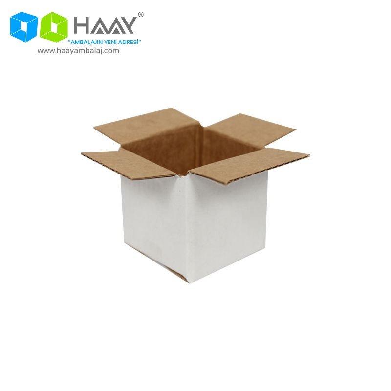 5x5x5 cm Tek Oluklu Beyaz A-Box Koli - 616