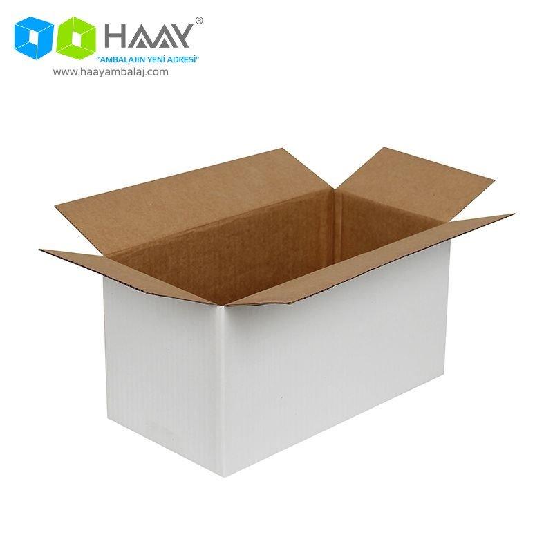 29x15x15 cm Tek Oluklu Beyaz A-Box Koli - 653