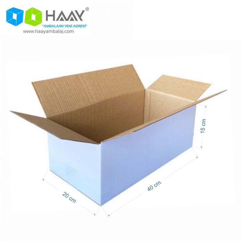 40x20x15 cm Tek Oluklu Beyaz A-Box Koli