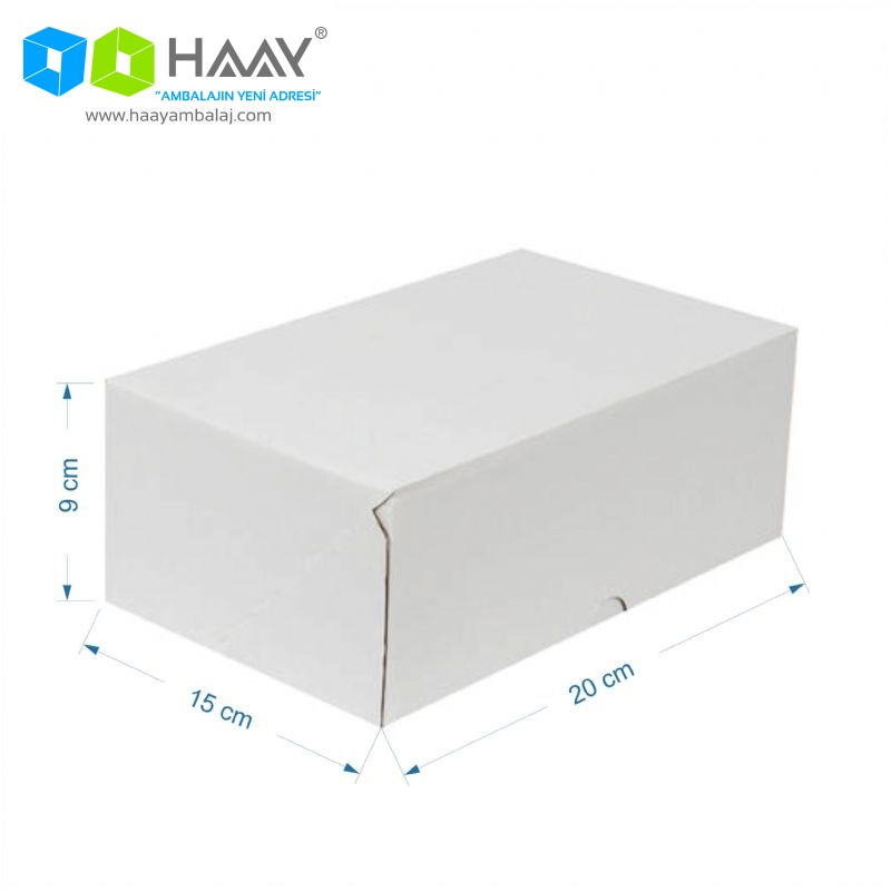 20x15x9 cm Beyaz Hazır E-Ticaret Kutusu