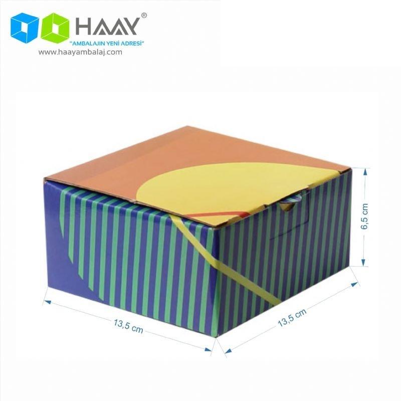 13,5x13,5x6,5 cm Turuncu Yeşilli Kapaklı Kilitli Kutu