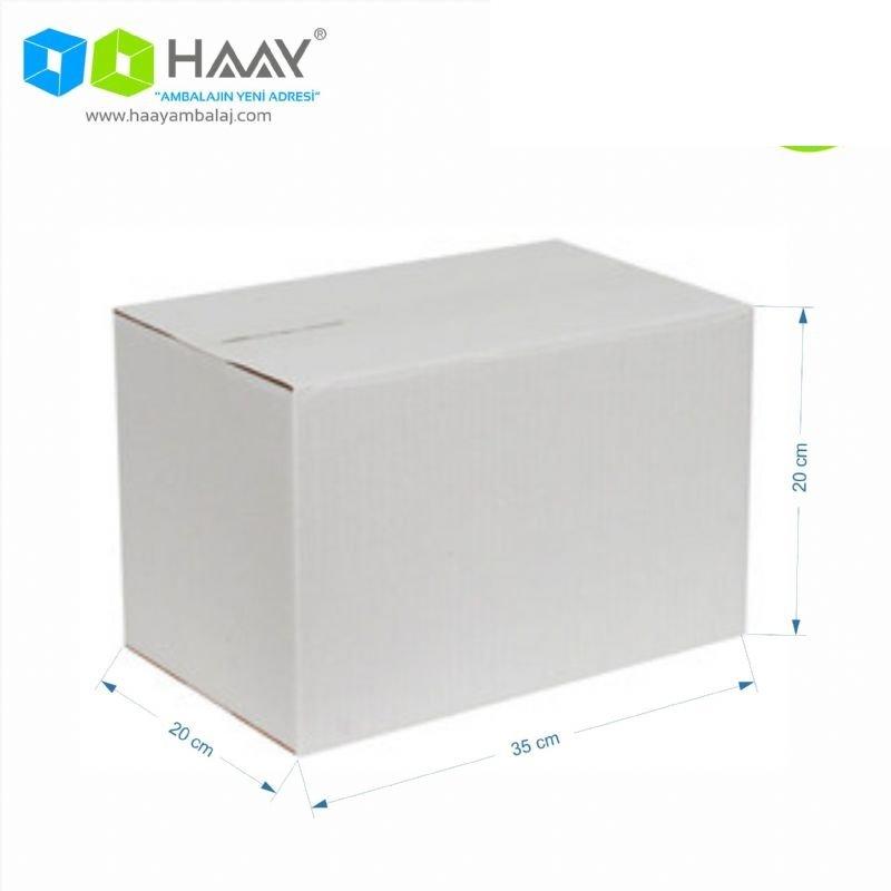 35x20x20 cm Tek Oluklu A-Box Beyaz Koli