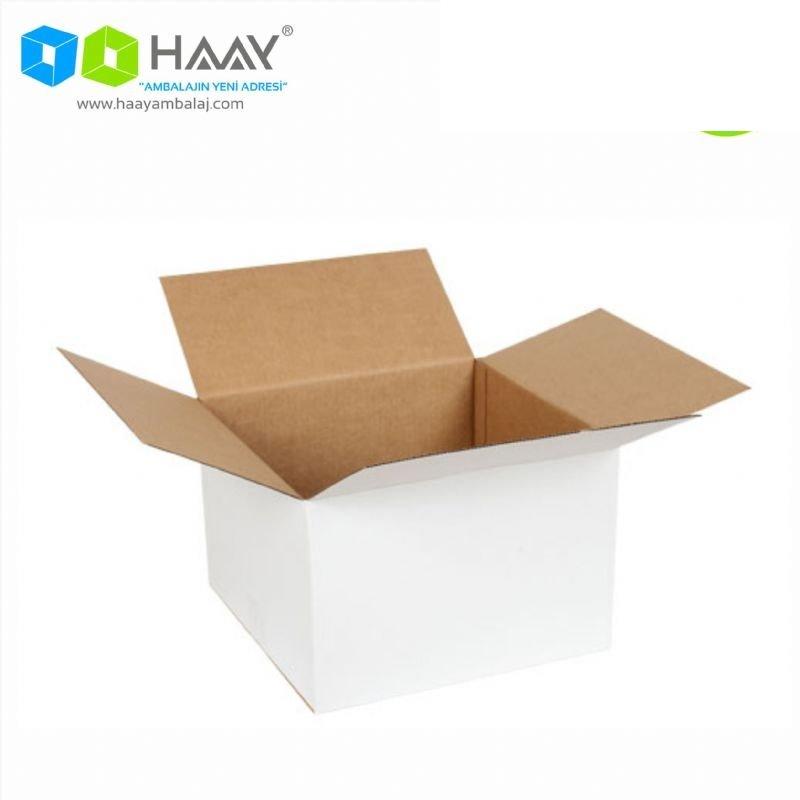 30x30x20 cm Tek Oluklu A-Box Beyaz Koli - 738