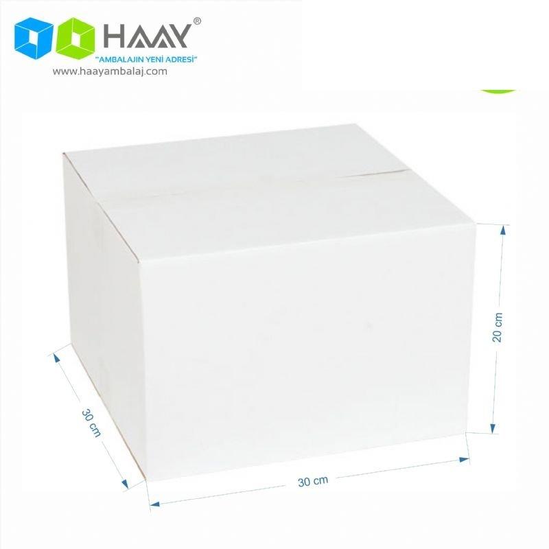 30x30x20 cm Tek Oluklu A-Box Beyaz Koli
